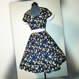 Zaful Navy Flowers Dress, Size L